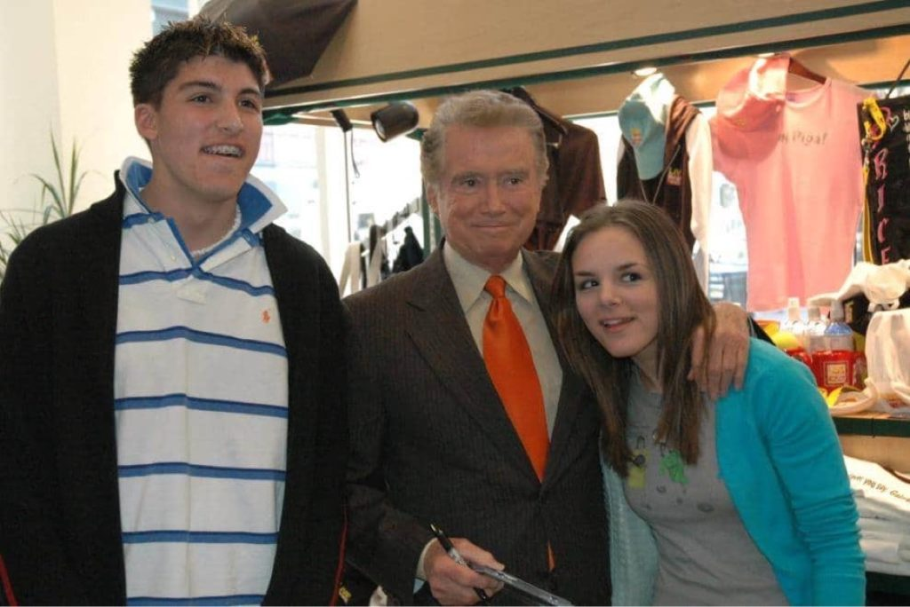 Regis Philbin with fans Chris Marine and Sam Slade